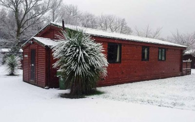 Snow at Rowardennan Lodges Loch Lomond