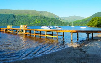 Beach and jetty at Rowardennan Lodges